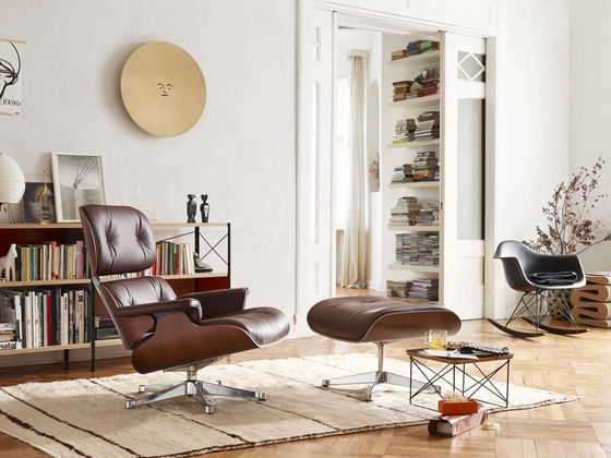 Lounge Chair Ottoman Occasional Table LTR Eames Plastic Armchair RAR Metal Wall Relief Sun Wiggle Stool Cat & Dog small